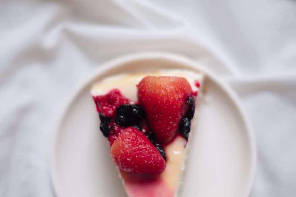 A close up of a piece of cake on a plate